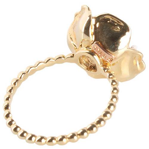 Тонкое золотое кольцо Roberto Bravo White Dreams из шариков с большим белым цветком, фото