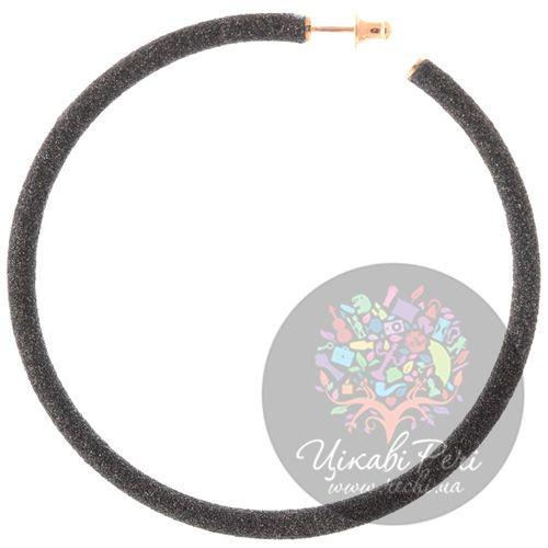 Большие позолоченные серьги-кольца Pesavento в темно-коричневой карбоновой крошке, фото