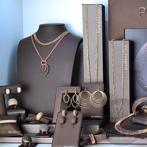 Серьги-пусеты Pesavento позолоченные с полосами из коричневой карбоновой крошки, фото