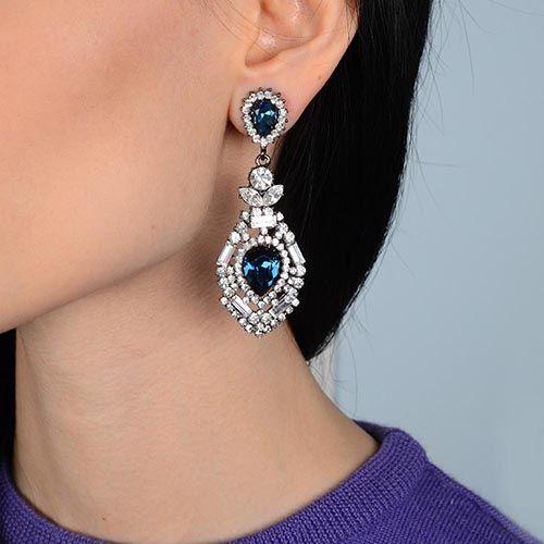 Серьги Parure Milano длинные с цирконами и синими кристаллами Swarovski на черненном металле, фото