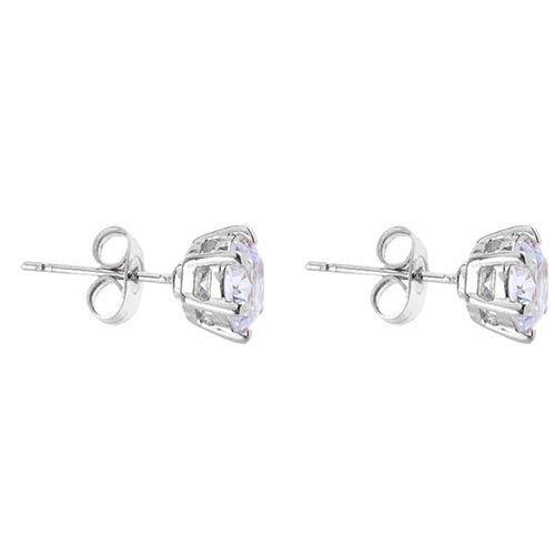 Серьги-гвоздики с жемчужными бусинами и кристаллами серебристые двусторонние, фото