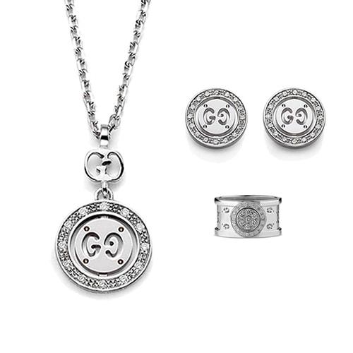Круглый кулон Gucci Icon из белого золота с бриллиантами на тонкой цепочке, фото