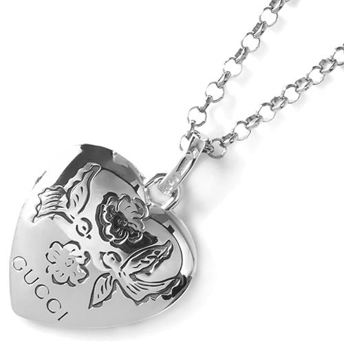 Кулон на цепочке Gucci Blind for love из серебра с двухсторонней гравировкой, фото