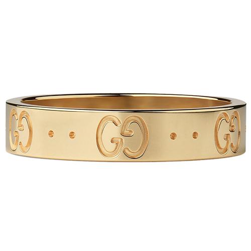 Женское кольцо Gucci Icon из полированного золота с фирменным тиснением, фото