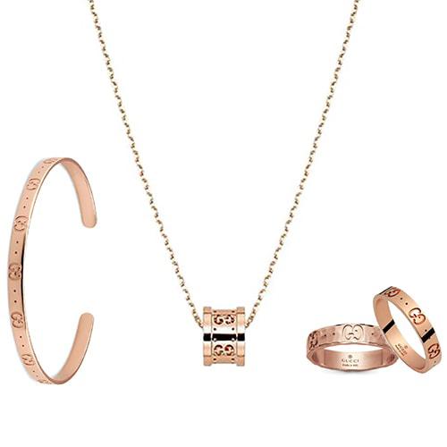 Тонкое кольцо Gucci Icon из полированного розового золота с тиснением, фото