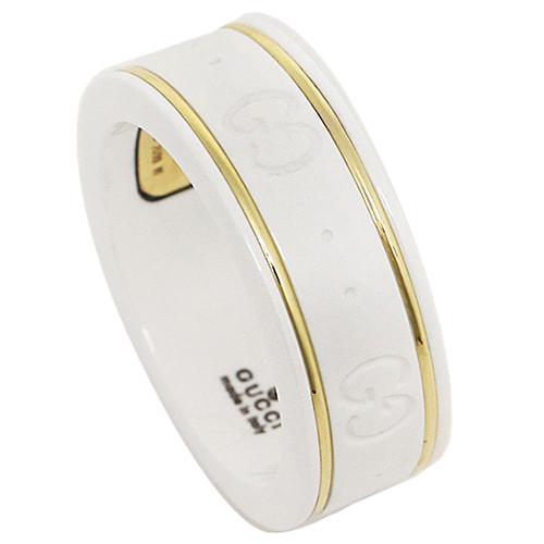 Белое кольцо Gucci Icon из циркония с золотым кантом и тиснением, фото