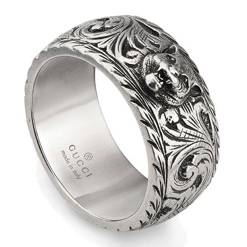 Широкое кольцо Gucci Feline head из состаренного серебра с котом, фото