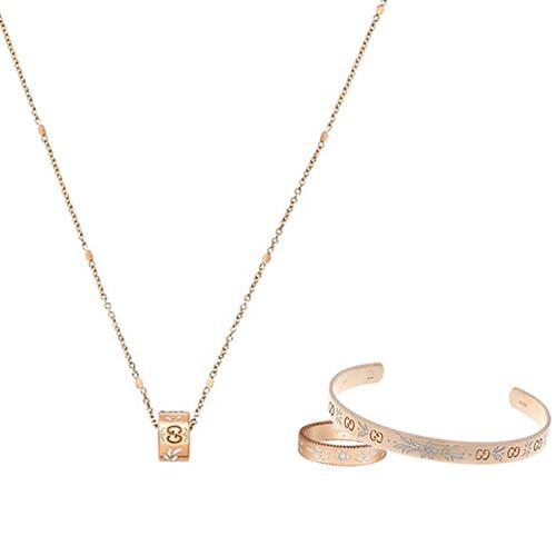 Женское кольцо Gucci Icon из розового золота с тиснением и узором из эмали, фото