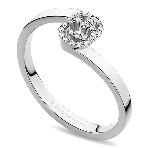 Тонкое кольцо Gucci Running G с логотипом в бриллиантах, фото