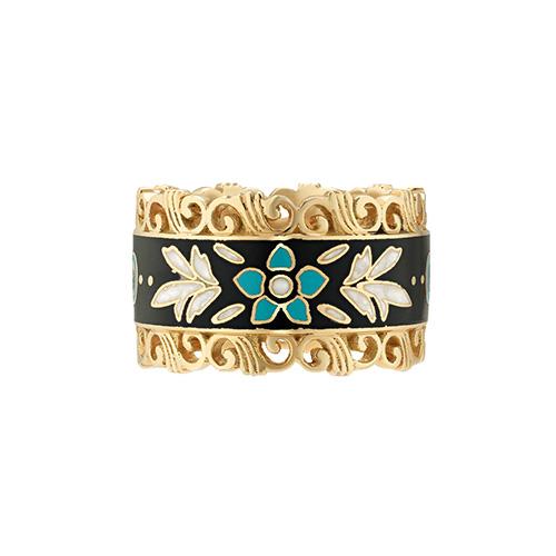 Широкое кольцо Gucci Icon из желтого золота с белым цветочным принтом, фото