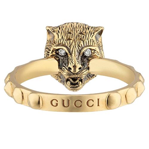 Золотое кольцо Gucci Le Marche des Merveilles с бриллиантами и ониксом, фото