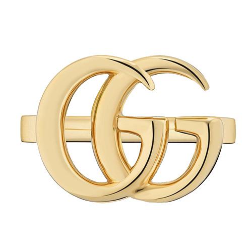 Тонкое золотое кольцо Gucci Running G с логотипом по центру, фото