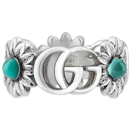 Серебряное кольцо Gucci GG Marmont с символами и цветами, фото