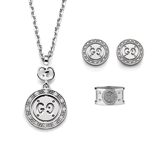 Круглые серьги-гвоздики Gucci Icon из белого золота с бриллиантами, фото