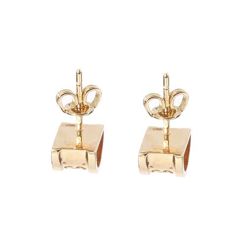 Полукруглые серьги-гвоздики Gucci Icon с перфорацией из желтого золота, фото