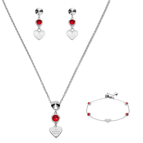 Серьги-подвески Gucci Trademark на застежках-гвоздиках с круглыми красными кристаллами, фото