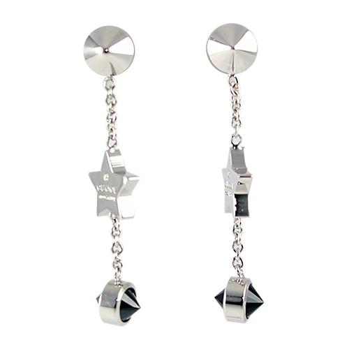 Серьги-подвески Gucci Trademark на застежках-гвоздиках с черными камнями и подвесками-звездами, фото