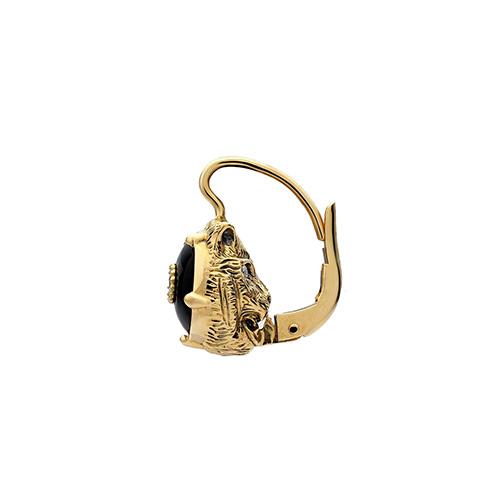 Золотые серьги Gucci Le Marche des Merveilles в виде кошачьих голов с бриллиантами и ониксом, фото