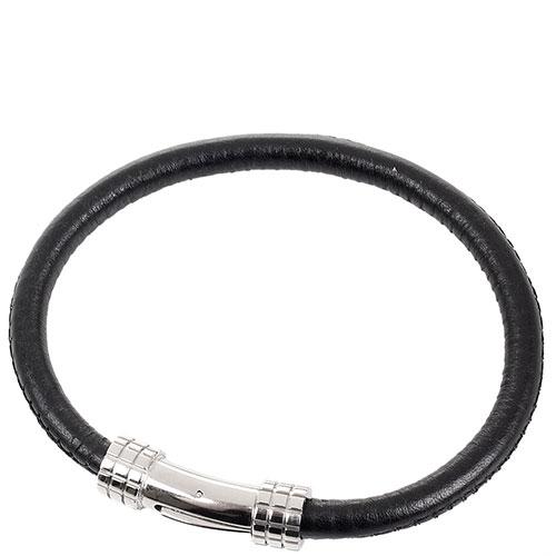 Черный кожаный браслет Zeades с застежкой серебристого цвета, фото