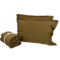 Льняной комплект постельного белья Devo Home Deep Green Washed Linen, фото