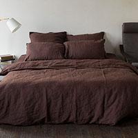 Полуторный комплект постельного белья Etnodim из льна коричневого цвета, фото