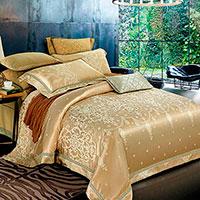 Комплект хлопкового постельного белья Love You Жаккард золотистого цвета, фото