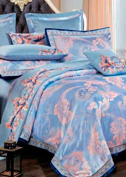 Комплект хлопкового постельного белья Love You Жаккард голубого цвета, фото