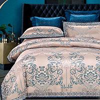 Комплект хлопкового постельного белья Love You Жаккард бежевого цвета, фото