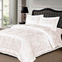 Комплект хлопкового постельного белья Love You Жаккард белого цвета с орнаментом, фото