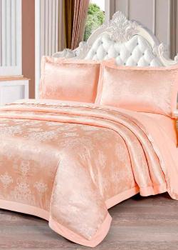 Комплект постельного белья Love You Жаккард золотистого цвета с орнаментом, фото