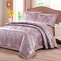 Комплект хлопкового постельного белья Love You Жаккард фиолетового цвета, фото