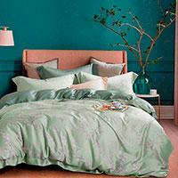 Комплект постельного белья Love You Tensel из эвкалиптового волокна зеленого цвета, фото