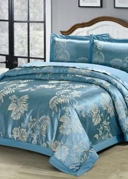 Двуспальное постельное белье Love You бирюзового цвета, фото
