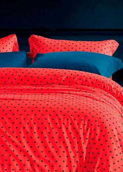 Комплект хлопкового постельного белья Love You LUX красного цвета в горошек, фото