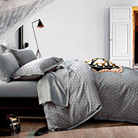 Комплект постельного белья Love You LUX серого цвета с абстрактным принтом, фото