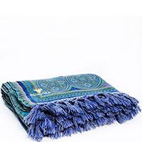 Сине-бирюзовый плед Shingora с орнаментом, фото