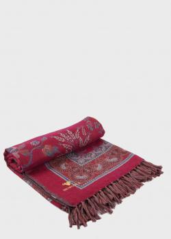 Плед из шерсти Shingora Chintz Blush красно-серого цвета 150х200см, фото
