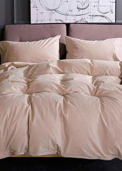 Комплект постельного белья Love You Варенный хлопок бежевого цвета, фото