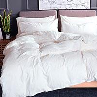 Комплект постельного белья Love You Варенный хлопок белого цвета, фото