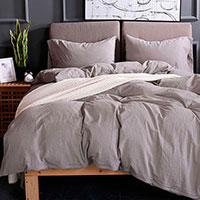 Комплект постельного белья Love You Варенный хлопок серого цвета, фото