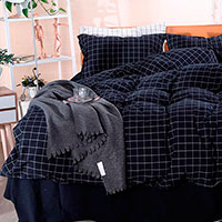 Комплект постельного белья Love You Варенный хлопок темно-синего цвета, фото