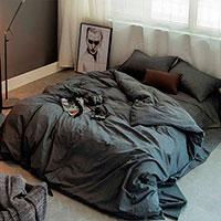 Комплект хлопкового постельного белья Love You Варенный хлопок серого цвета, фото