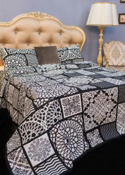 Покрывало черно-белое Villa Grazia Nido Premium с орнаментом + 2 наволочки, фото