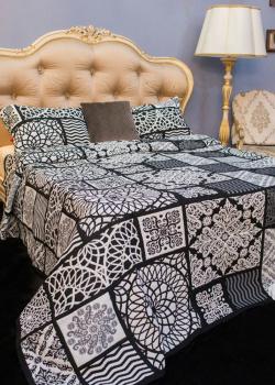Покрывало черно-белое Villa Grazia Nido Premium с орнаментом, фото