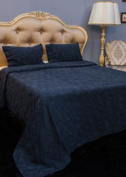 Покрывало  темно-синее Villa Grazia Nos Premium с орнаментом + 2 наволочки, фото