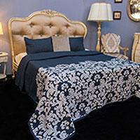 Покрывало  темно-синее Villa Grazia Paris Premium с орнаментом + 2 наволочки, фото