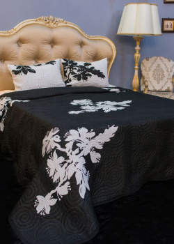 Покрывало черное Villa Grazia Sheila Premium с орнаментом + 2 наволочки, фото