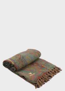 Плед из шерсти Shingora Teal Wood с орнаментом 140х180см, фото