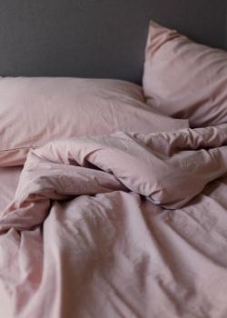 Двуспальное постельное белье с простыней на резинке Home me Пудровый закат, фото