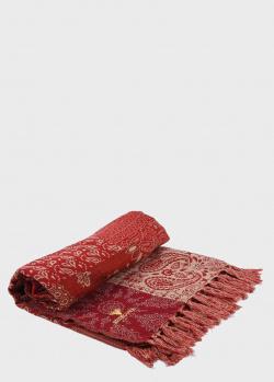 Красный плед Shingora Welsh Maze с узором в стиле пэчворк 140х180см, фото